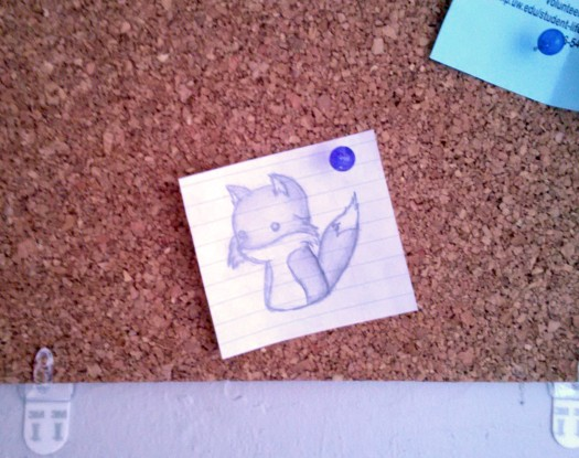 a sketch of a fox pinned to one of my corkboards